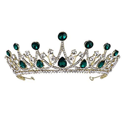 Lurrose Tiara de Boda Corona Nupcial Diamantes de Imitación Corona Diadema Aros...