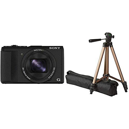Sony DSC-HX60 Digitalkamera (20,4 Megapixel, 30-Fach Opt. Zoom, 7,5 cm (3 Zoll) LCD-Display, Exmor R CMOS Sensor) schwarz & Amazon Basics– Leichtes Kamera-Dreibeinstativ mit Tasche, 41,91–127cm