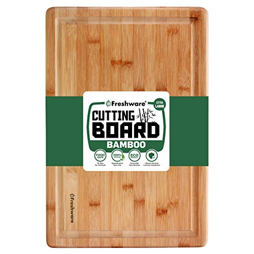 Extra Large Bamboo Cutting Board - 18x12 Thick Strong Bamboo Wood Cutting Board with Drip Groove by...