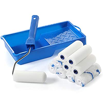 """Foam Paint Roller Kit -Small Paint Tray Set with High-Density Foam Mini Roller Refills, Roller Frame, Paint Tray, 4"""" Microfiber Roller Covers, House Painting Roller Brush(12-Pack)"""