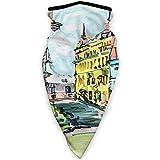MLNHY - Funda para la cara a prueba de viento, diseño de acuarela con paisaje de ciudad dibujado a mano con edificios de arquitectura retro, decoraciones faciales impresas para todos