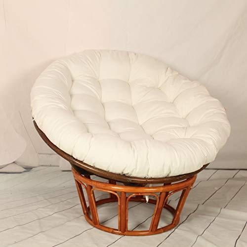 FYLHX Huśtawka wiszący koszyk poduszka na krzesło duża miękka huśtawka siedzisko poduszka okrągła wiklinowa wiszący fotel poduszka gruba papasan poduszka do ogrodu wewnątrz na zewnątrz dekoracja - biała 100 x 100 cm (39 x 39 cali)