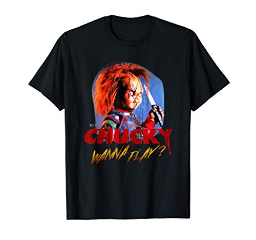 Child's Play Chucky Wanna Play Creepy Portrait Camiseta