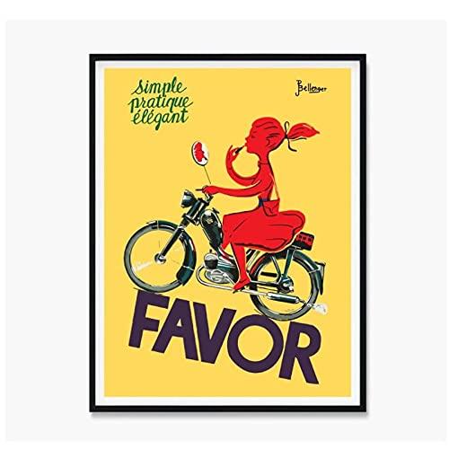 Vspgyf Canvas Favor Scooter Poster Vintage Scooter Prints Vintage Scooter Posters Vintage Art Lady con lápiz Labial en Scooter Imagen -50x70cmx1pcs -Sin Marco