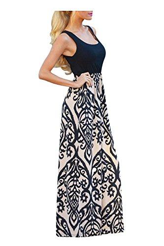 Issza Damen Sommerkleid Lang Kleid Maxikleid Drucken Ärmellos Strandkleid Rundhals High Waist Cocktailkleid Abendkleid Partykleid Schwarz M