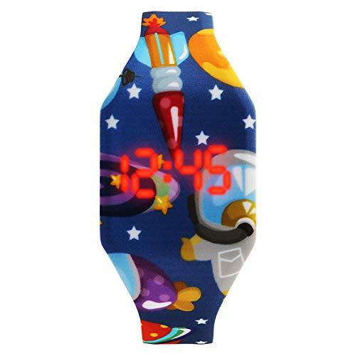 Reloj Niño Yuan Ou Reloj Digital para niños, Estudiantes, Pantalla LED, diseño de Dibujos Animados Lindo para niños y niños, Estrella de Cohete