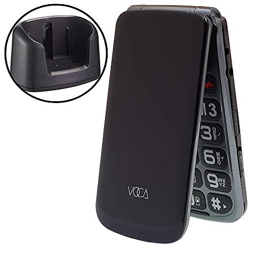 VOCA V330 3G - Téléphone Portable à Bascule Senior et Facile à Utiliser, avec Clapet supérieur, Noir