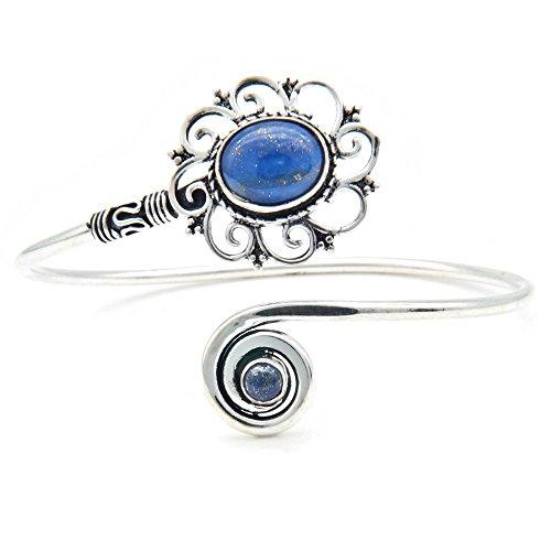 mantraroma Armreif Armband versilbert silbern Lapis Lazuli blau (922-05-025-06)