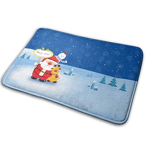Liuqy Bath Mat Santa Snowman Memory Foam Bath Mats Non Slip Soft Absorbent Bath Rugs Rubber Back Runner Mat for Kitchen Bathroom Floors,40x60cm-56