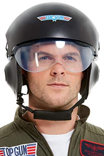 Smiffys 42961 Offiziell lizenzierter Top Gun Deluxe Helm, Erwachsene, Schwarz, Einheitsgröße