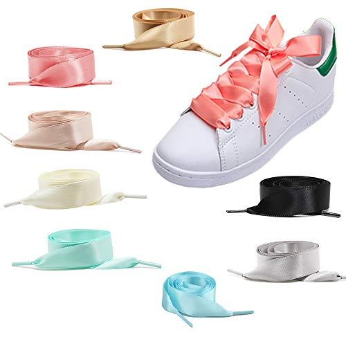 8 Pares de Cordones de Zapato de Raso Planos de 2cm de...