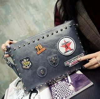iBag's Pu leather ladies fashion badges rivets envelope package Clutch handbag shoulder bag across body messenger bag three color