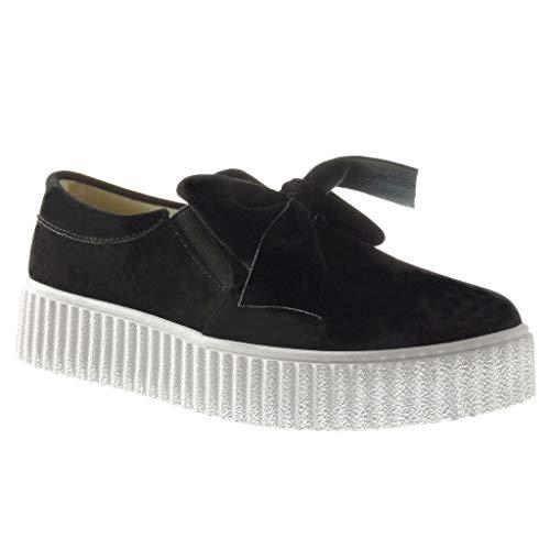 Angkorly - Damen Schuhe Sneakers - Turnschuhe - Plateauschuhe - Slip-on - Fliege Keilabsatz high Heel 3.5 cm - Schwarz HX-001 T 37