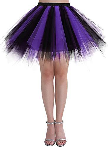 Dressystar Falda de tutú de tul para mujer de la década de los años 50 (15 colores), Primavera-Verano, Asimétricos, Mujer, color Negro Púrpura, tamaño 36