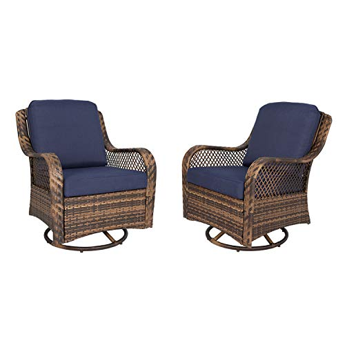 Ulax Furniture Patio Wicker Swivel Glider Chair Outdoor Cushioned Rattan Rocker Rocking Chair (Navy)