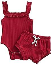 طفل الفتيات الصيف بلون رومبير مجموعة الملابس عارضة أكمام بذلة مضلع + السراويل 2 أجزاء الصيف مجموعات قصيرة (Color : A, Kid Size : 18M)