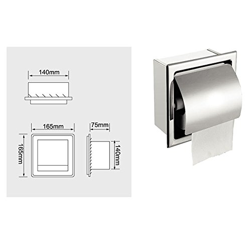 Risingmed Spenderhalter für Toilettenpapierrolle, Edelstahl, wasserdicht, eingebaut, verchromt mit Abdeckung, rostfrei, für Bad, WC