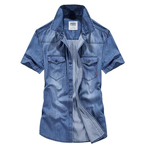 Camisas de Mezclilla Informales de Negocios con Solapa para Hombres Ropa de Calle de Moda Camisas de Manga Corta básicas cómodas y Finas L