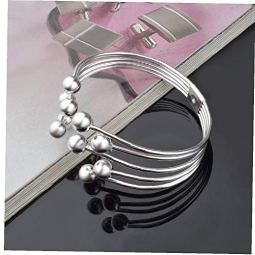 Hotaden Silver Color Bangle Open Cuff Five Wire Bead Bracelet Bangles for Women Fashion Jewelry Accesorios Mujer