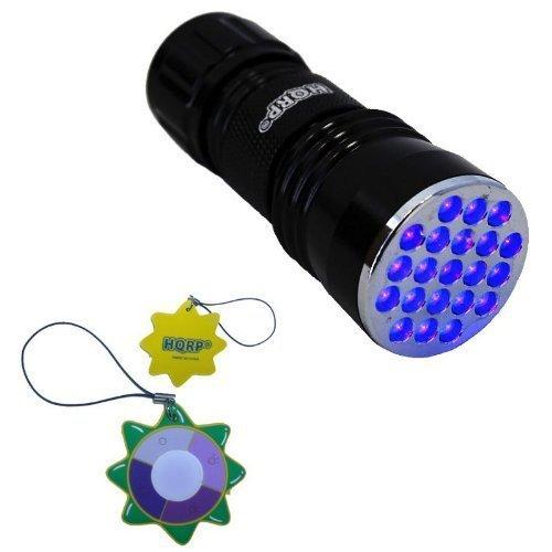 HQRP Torcia professionale UV 21 LED con lunghezza d'onda 380 nm per geologia / mineralogia / rivelamento dei roditori / controllo d'inchiostri attivati a UV + HQRP Misuratore del sole