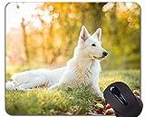 Yanteng Alfombrilla de ratón de Caucho Natural Impresa con Mascota Perro Pastor Suizo - Bordes cosidos