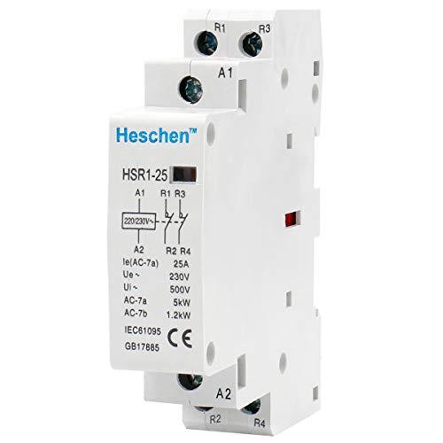 Heschen HSR1-25 - Contactor de CA (2 polos, 2 polos, normalmente cerrado, 220 V, 230 V, 35 mm, montaje en riel DIN)