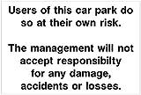 Parkplatz Haftungsausschluss Hotel Sicherheits Schild oder Aufkleber hot04 - 30cm x 40cm approx 12' x 16'