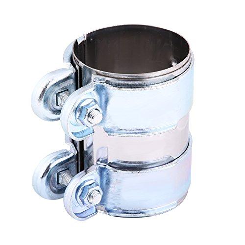Cinta de tubo de silenciador de escape, Turbo de acero inoxidable Abrazadera de banda de escape Abrazaderas de paso Conector de tubo de Catback de silenciador con tornillos(2.5 inch)
