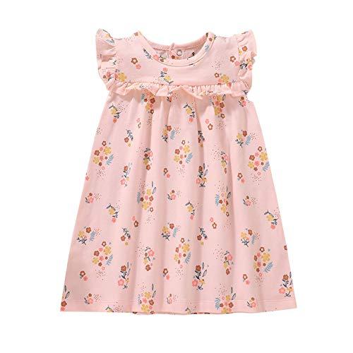 Baby Mädchen Kleider Süß Fliegenhülse Kleider Neugeborene Kinder Sommer Kleider Ärmellos Blumen Kleider Kleinkinder Baumwolle Kleid Casual T Shirt Kleid Baby Mädchen Blumen Drucken Kleider
