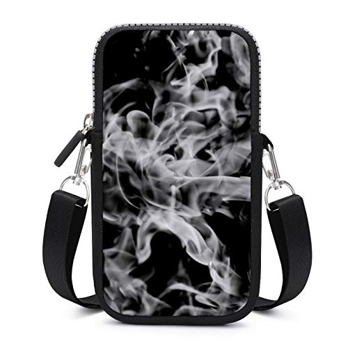 Cellphone Purse Crossbody with Removable Shoulder Strap Grey Flame Sweat-Proof Pouch Case for Key Wrist Wallet Outdoor Bags Men
