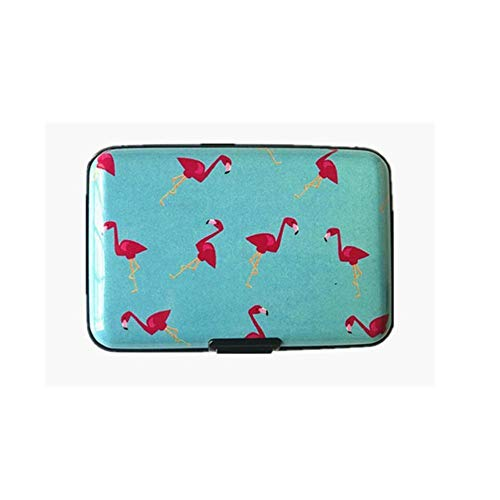 1 PC Card Holder pluma unisex RFID titular de la tarjeta de visita de aluminio linda tarjeta de identificación de dibujos animados mujer tarjetero caja de la carpeta, Color: verde ( Color : Flamingo )