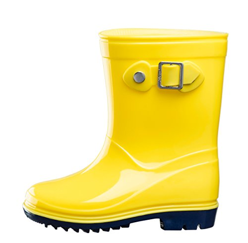 Silky Toes Boys Girls Rain Boots for Kids, Waterproof Toddler Little/Big Kids Classic Wellies (Yellow, 7)