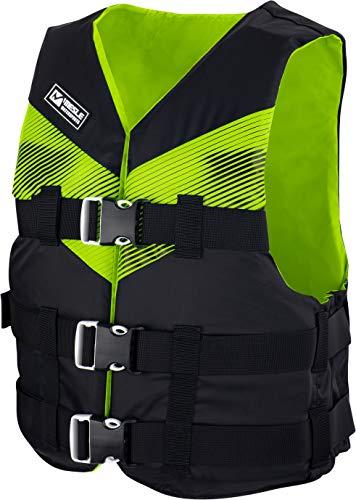MESLE Schwimmweste V210, leichte Schwimm-Hilfe, Erwachsene & Jugendliche, 50-N Auftriebsweste für SUP Wasserski Paddeln Wakeboard Kajak Schnorchel-Weste, Wassersport, Farbe:grün, Größe:XS