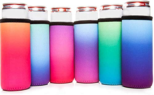 CANA CAPRI 6pk Summer Daze Slim Can Cooler - 12oz Tall Insulated Neoprene Can Sleeves - Perfect for...