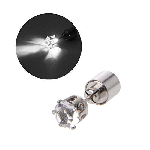 Haptian oorbellen, glanzende diamant led kleur veranderen Stud oorbel licht omhoog knipperen knipperen oorbel wit