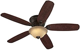 3976c4e2a12 Harbor Breeze Pawtucket 52-in Oil Rubbed Bronze Indoor Flush Mount Ceiling  Fan with Light