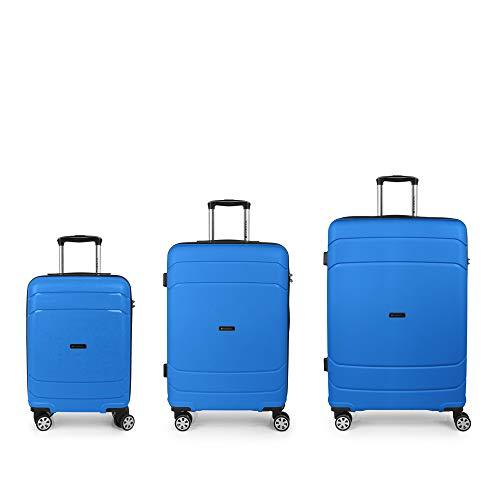 Gabol Shibuya | set koffers met harde schaal in blauw met cabinetas, middelgrote trolley en grote trolley.