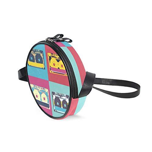 COOSUN - Bolso bandolera redondo con casete de audio para niños y...