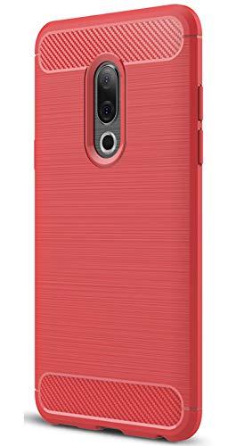 XINFENGDI Meizu 15 Plus Hülle, Tasche mit Stoßdämpfung Robuste TPU Stylisch Karbon Design Handyhülle Hülle Hülle für Meizu 15 Plus - Rot
