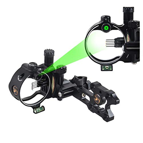 MILAEM Micro Adjust 5 Pin/7 Pin Compound Bow Sight with Retina Lock Technology 0.019 Optical Fiber Sight CNC Aluminum Horizontal Vertical Adjustment Bow Sight Shooting (Black/9150)