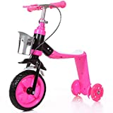 LGLE Niño Patinetes Juguetes 2 en 1 NiñOs NiñO Scooter Soporte Asiento Plegable Balance Coche Bike Bebé Triciclo Multifuncional para NiñOs PequeñOs con 3 Ruedas,Pink