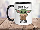 N\A Yoda Mejor Taza Soldador, Soldador Mejor Nunca un Regalo, Taza de Yoda bebé, Regalo Divertido para Soldador, Tarjeta de cumpleaños Soldador, Soldador Mejor Regalo del Mundo, 11 oz