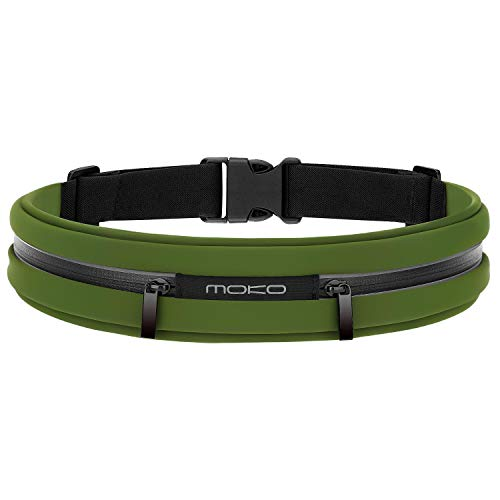 "MoKo Sport Jogging Gürtel Hüfttasche Laufgürtel Taille Tasche Running Belt Kompatibel mit iPhone 12 mini/12/12 Pro, Galaxy S10/S10 Plus/S10e/S7 Edge, Huawei P8 Lite/P9, Handy bis zu 6"" (Armeegrün)"