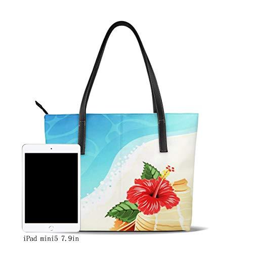 Bolso De Mano Grande para Mujer Flor Mar Hibisco Concha Grande Tote Bag Shopper Cuero De La PU Bolso De Hombro Gran Capacidad Bolso De Compras Asa Larga
