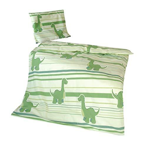 Krollmann Babybettwäsche Kinderbettwäsche Dinosaurier Grün 100% Baumwolle - Baby & Kinder Bettwäsche-Set Deckenbezug 100x135 cm Kissenbezug 40x60 cm - Bedruckter Bezug mit Reißverschluss