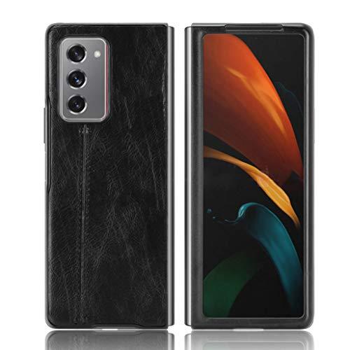 HAOTIAN Cover per Samsung Galaxy Z Fold2 5G, Custodia per Telefono in Pelle Retro Ultra Sottile Cassa Morbido TPU Silicone Case, Antiurto AntiGraffio Cover per Samsung Galaxy Z Fold2 5G, Nero
