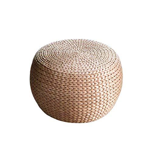LIL Pouf rond en rotin de paille, repose-pieds de bureau en bois de couleur principale et de canapé de famille (Couleur : 32 * 32 * 30CM)
