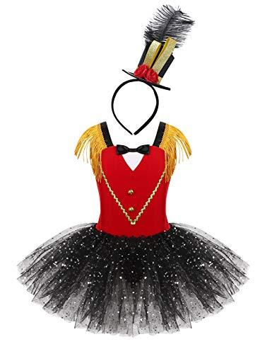 FEESHOW Enfant Fille Robe de Princesse Acrobate Déguisement Costume Clown Sorcière Cirque Tutu Robe Brillant de Soirée Fête Carnaval Danseuse Fille Uniformes Cirque Costume Actrice Rouge 9-10 Ans