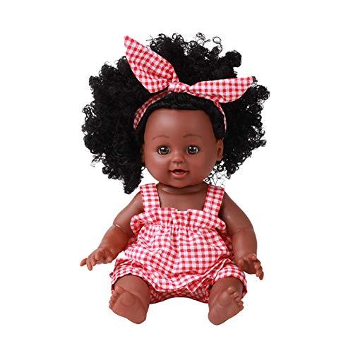 househome Muñeca de bebé - Alicia - Muñeca americana negra y africana realista de 30 cm - Juguetes para niños