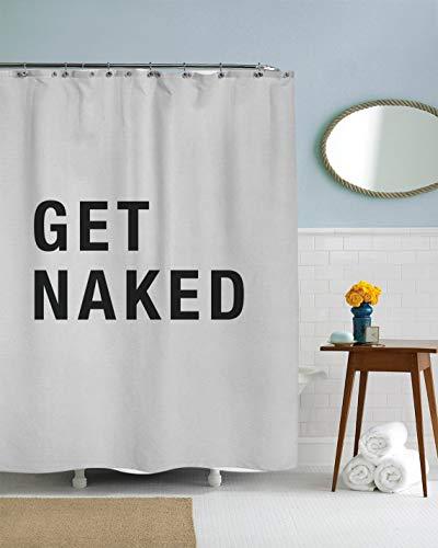 Prz0vprz0v Lustiger Duschvorhang, cooler Duschvorhang, sexy Vorhang, College Dorm Duschvorhang, lustige Badezimmer-Dekoration, Get Naked, weißer Vorhang, 187,8 x 182,9 cm